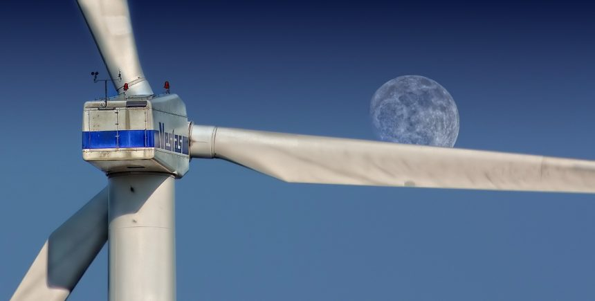 windmill, moon, winding, energy